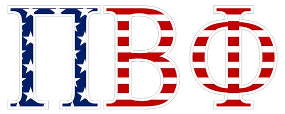 pi beta phi american flag greek letter sticker 2.5