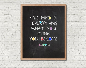 Modern Buddah QuotePRINTABLE Wall Art Instant Download Digital Poster Print What You Think You Become Chalkboard Blackboard Inspirational