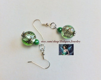 Light Green and Chocolate Swirls Earrings #35  One Of A Kind!
