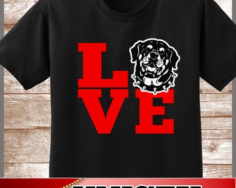 "Rottweiler Shirt.  Cute ""LOVE Rottweiler"" Tee.  Excellent Gift for a Rottweiler Mom/Dad and all Rottweiler Lovers"