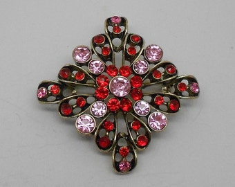 Vintage Pink and Red Rhinestone Square Brooch