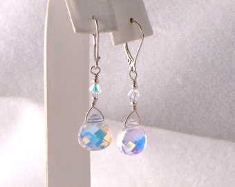 Swarovski Clear AB Coated Briolette Crystal Earrings Sterling Silver, Bride's Earrings, dangle sparkly earrings, drop sparkly earrings