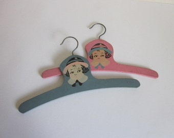 Vintage Painted Wooden Children's Clothes Hanger Pink Blue, Vintage Children's Clothes Hanger, Vintage Novelty Children's Clothes Hanger