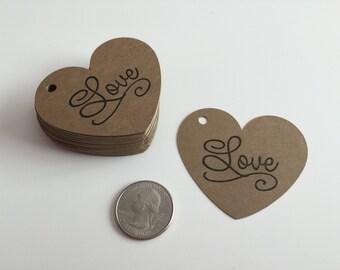 "Handmade 50 Kraft Heart ""Love"" Tags, Gift tags, Hearts, Tags, Kraft"