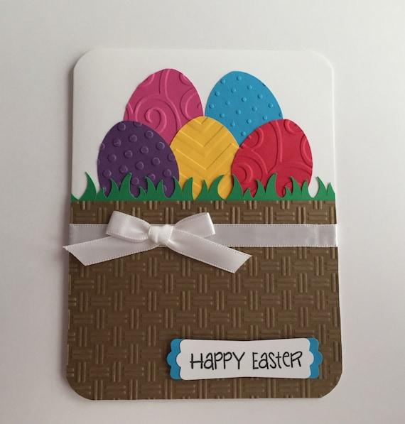 Handmade Easter Card Happy Easter Basket Eggs Easter Eggs