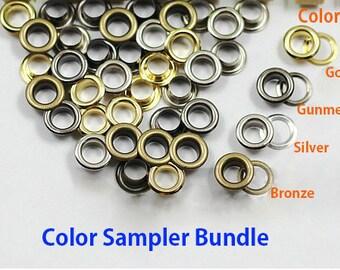 120 sets Metal Grommet Color Sampler! Include 4 color x 30 sets each. Eyelets for Sewing, leather crafting, straps,belt, emblishment
