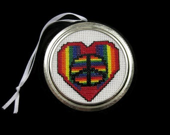 Cross Stitch Rainbow and Peace Sign Heart Ornament