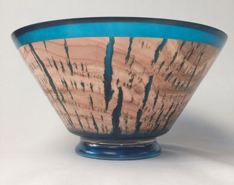 Eucalyptus Wood Bowl with Blue Resin