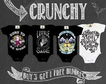 CRUNCHY Hippie Bodysuits: Buy 3 bodysuits + Get 1 FREE / Crunchy Boho Bundle /breastfeeding baby / baby wearing bodysuits / baby shower gift