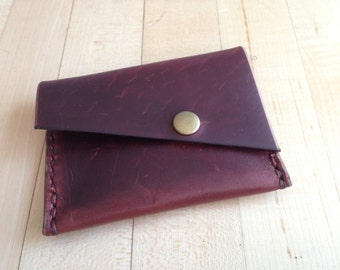 Handmade leather snap wallet