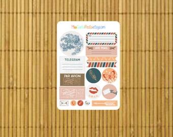 S190 - 17 Air Mail Par Avion Happy Mail Planner Stickers