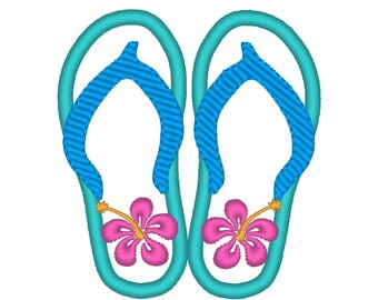 Flip Flops MACHINE EMBROIDERY / INSTANT hawaii Flip Flops embroidery applique, summer Hibiscus  Flip Flops flower embroidery