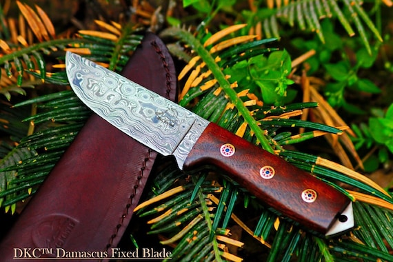 "DKC-73 Survival 1 Damascus Hunting Knife 8"" Long 5.4 oz !  Walnut Handle With  Lanyard Hole"