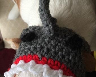 Shark Dog Hat, Crochet, Dog Clothes, Chihuahua, Pet Accessories,Handmade