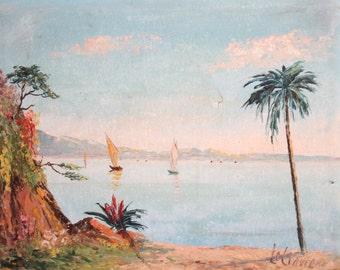 Antique Impressionist Seascape Landscape Oil Painting Signed