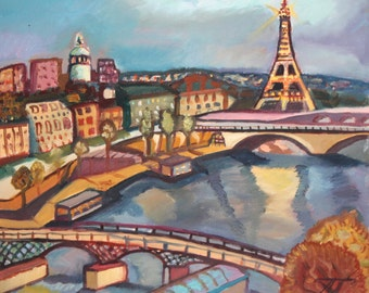 Fauvist Cityscape Landscape Oil Painting Signed