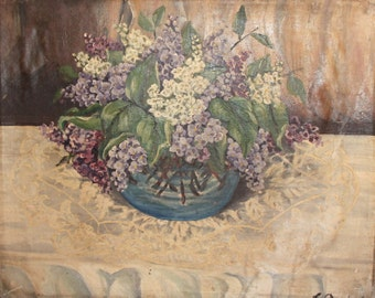 1945 Impressionist Still life Oil Painting Signed