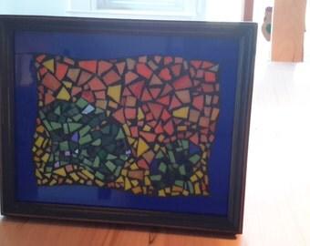 Mosaic wall art ginkgo leaves orange yellows blue green