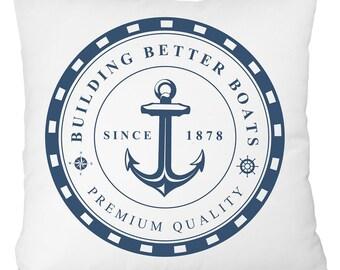 anchor throw pillow, nautical white and blue anchor pillow