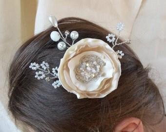 Wedding hair flower  beige Bridal hair flower Wedding Champagne Hair Flowers Hair  Bridal hair accessories Wedding  Lace  Vintage  beige