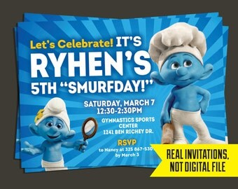Smurf Invitation - Smurf Birthday Invitation