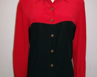 Louis Feraud black and red color block silk blouse 1980's M