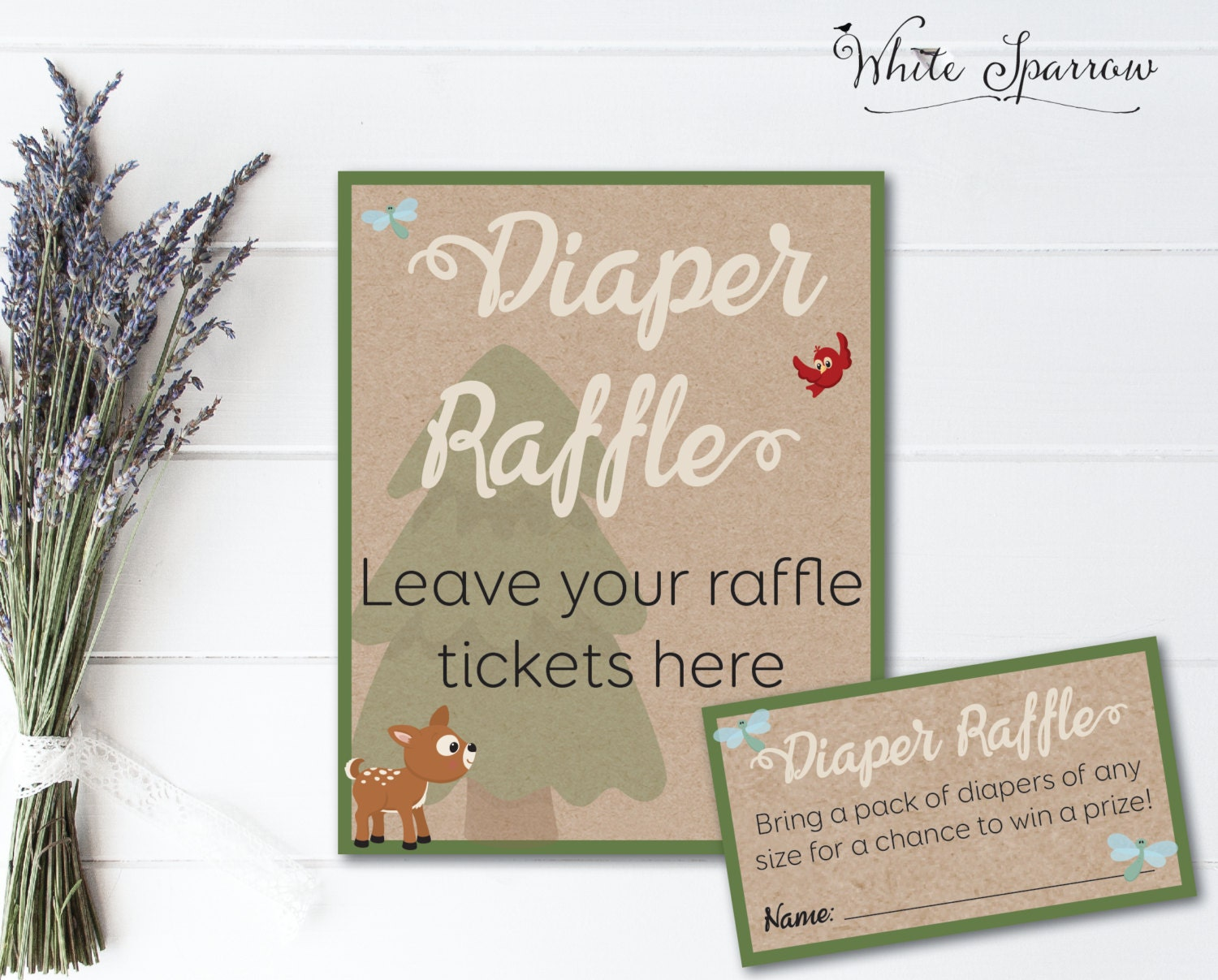 woodland baby shower diaper raffle tickets neutral baby