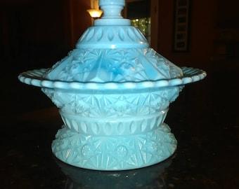 EAPG Challinor Taylor Butter Dish Blue Milk Glass