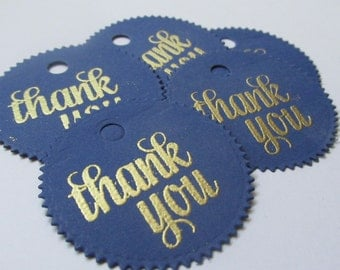 25 navy blue and gold thank you tags, prince party favor tags, baby shower thank you tags, royal blue and gold thank you tags