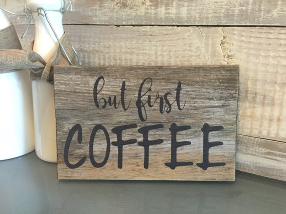 Sign Gift Coffee Lover Weathered Wood Kitchen Decor Kitchen Wall
