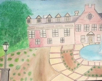 Watercolor and Pen piece of Samford University