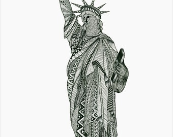 Statue of Liberty Zentangle (12in x 18in)