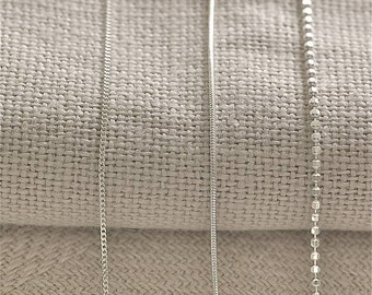 Sterling Silver Chain. Sterling Silver Snake Chain. 45cm Silver Plated Chain.