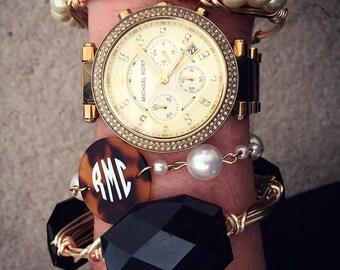 Monogrammed Pearl Strand Bracelet
