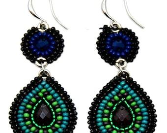Blue Beaded Earrings Bali