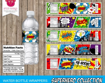 Printable Superhero Water Bottle Labels | Personalized