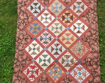Brown & Red Shoo Fly Quilt (Vintage Reproduction Fabrics)