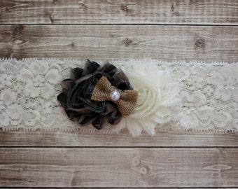Camouflage burlap baby headband, shabby chic ivory camo baby bow