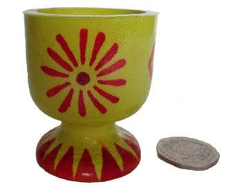 Yellow Egg Cup, Wooden Egg Cup, Painted Egg Cup, Aztec Daisy Egg Cup