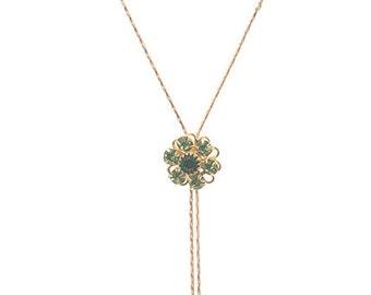 Necklace with delightful Vintage Swarovski Emerald Crystal Flowers
