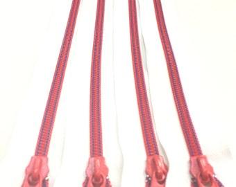 White and Red #3 Coil Zipper (Non-Lock Slider) in 10 Inches CLOSED BOTTOM (1 Zipper)