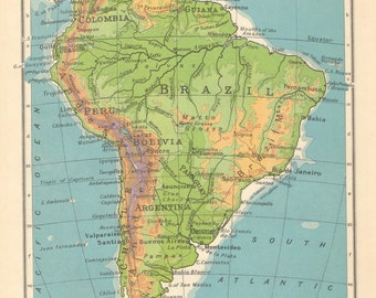 Argentina Etsy - Argentina map vintage