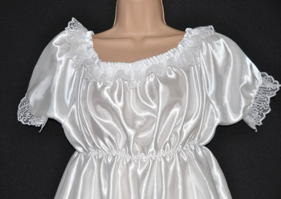 Virgin white pretty little silky satin sissy dress with matching slithery bloomers
