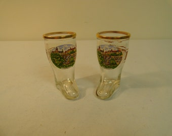 Set of Two Miniature Boot Shot Glasses With Gold Trim From Luxemburg
