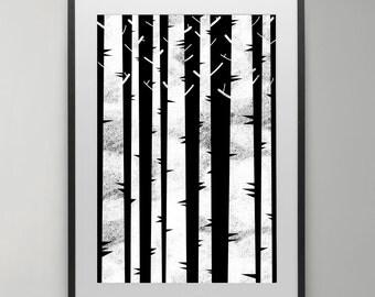 White Birch Trees, art poster, scandinavian print, nordic design, Poster, Illustration, Kids room, Wall Art, Instant Download, Home decor.