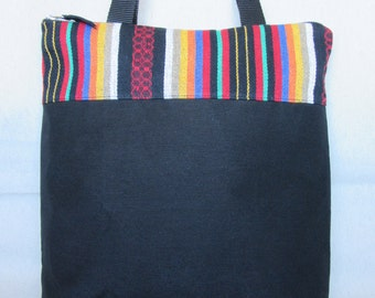 Style in ethnic fabric and Black canvas tote bag. Tote bag