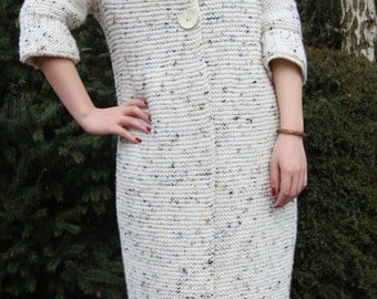 Hand Knitted Cream Chunky Cocoon Coat. Size M.