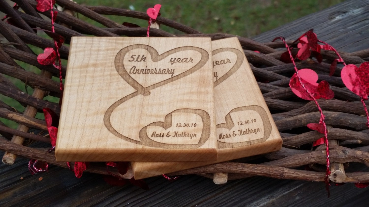 5th Wedding Anniversary Gift For Him: Custom 5th Anniversary Gift For Him Her Wooden Coasters
