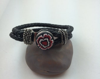 Large braided black leather snap bracelet with polymer clay snap