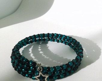 Teal, black and silver star Wrap bracelet